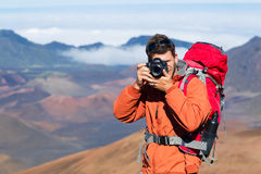 Nature Photographer taking Pictures Outdoors Royalty Free Stock Photography