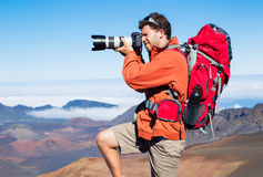 Nature Photographer taking Pictures Outdoors Royalty Free Stock Image