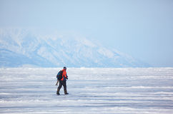 Nature photographer traveling on Baikal Lake in Siberia at winte Stock Photography