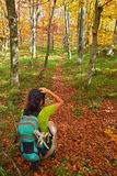 Nature photographer. Nature woman photographer in the forest Stock Photography