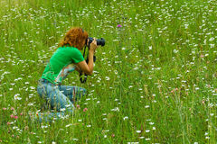 Nature photographer woman Royalty Free Stock Photos