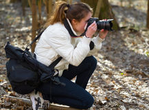 Nature photographer woman Royalty Free Stock Photography