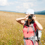 Nature photographer. At work in a wheat field Stock Photo