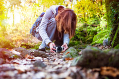 Nature photography. Photographer woman in the forest woods. Nature photography. Photographer woman in the woods. A woman is by placing the camera on the ground royalty free stock images