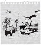 Nature picture. With the countryside, eagle and deers stock illustration