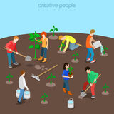Nature planet ecology care flat 3d isometric vector Stock Photo