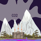 Nature Pollution concept with factory and dirty water for web sites and printed materials in cartoon style, flat. Stock Photography