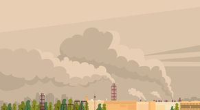 Nature Pollution Plant Pipe Air Dirty Smoke Waste. Vector Illustration Stock Image