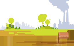 Nature Pollution Plant Pipe Air Dirty Smoke Waste Water Green Environment Royalty Free Stock Images