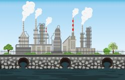 Nature pollution plant pipe dirty waste air and water polluted e. Nvironment ,pollution industrial conceptual vector illustration royalty free illustration