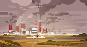 Nature Pollution Plant Pipe Dirty Waste Air And Water Polluted Environment royalty free illustration