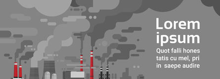 Nature Pollution Plant Pipe Dirty Waste Air And Water Polluted Environment. Flat Vector Illustration Stock Photos