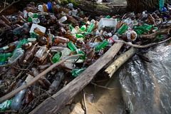 Nature pollution of plastic bottles Stock Image