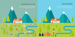 Nature Pollution and Scavenge Concept Illustration Royalty Free Stock Photos