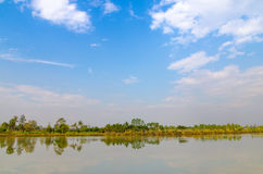 Nature pond landscape blue sky and cloud Royalty Free Stock Photography