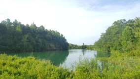 Nature pond. Water green cliff Stock Photography