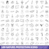 100 nature protection icons set, outline style. 100 nature protection icons set in outline style for any design vector illustration vector illustration