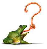 Nature Question. S as a green frog with its tongue shaped as a question mark as a symbol for ecology and environment uncertainty on a white background Stock Image