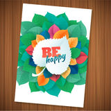 Nature rainbow leaves concept card.  Vector leaf abstract background Stock Photo