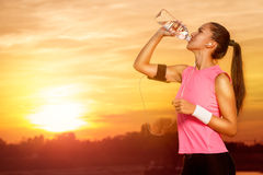 Nature recreation. Sporty woman on recreation in nature royalty free stock photos