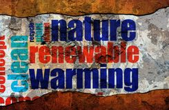 Nature renewable warming text on wall stock photos