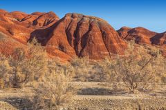 Red mountains in the territory of the national nature reserve Altyn-Emel. Kazakhstan Stock Photography