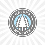 Nature reserve icon badge. Protected forest sign. Trees silhouette Stock Photography