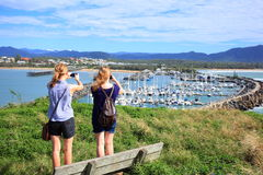 Nature reserve, marina and women, Coffs Harbour Royalty Free Stock Image