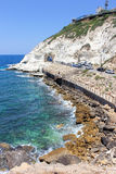 Nature reserve Rosh HaNikra is a geologic formation in Israel Royalty Free Stock Photo