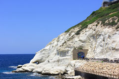 Nature reserve Rosh HaNikra is a geologic formation in Israel Royalty Free Stock Image