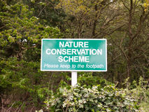 Nature reserve sign outside green close up Royalty Free Stock Photography