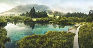 Free Nature Reserve Zelenci, Krajnska Gora, Slovenia, Europe. Wonderful Morning View Of Zelenci Nature Reserve. Slovenia Travel. Royalty Free Stock Photography - 215050797