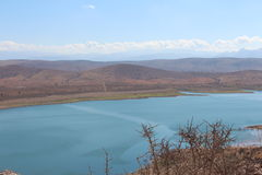 Nature reservoir with fresh water, near the Atlas Mountains in Morocco. Stock Photos