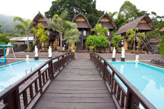 Nature resort. With pool on Lake Batur in Bali, Indonesia Stock Photography