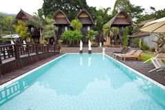 Nature resort. With pool on Lake Batur in Bali, Indonesia Stock Images