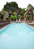Nature resort. With pool on Lake Batur in Bali, Indonesia Royalty Free Stock Photo