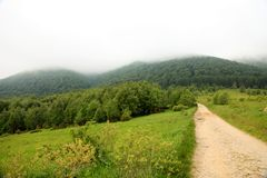 Nature. Road in the mountains. Summer landscape. Royalty Free Stock Photography
