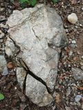 Nature rock in thr danger zone people  functional in thre rainy and winter sitatuioin royalty free stock image