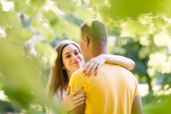 Nature romance - couple hugging in forest Royalty Free Stock Photography