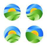 Nature round landscape icon, yellow sunrise in the green field on the blue sky. Vector abstract circle logo. Nature round landscape icon, yellow sunrise in the Royalty Free Stock Image