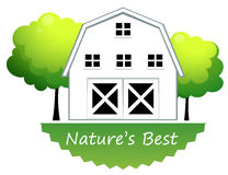 A nature's best label with a farmhouse Stock Photo