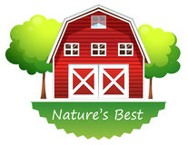 A nature's best label with a red barnhouse Stock Photo