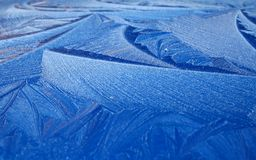 Nature's Design. Stunning Frosted Pattern found on Car bonnet in december royalty free stock photo