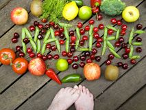Nature's fresh fruits and vegetables Stock Images