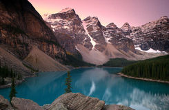 Nature's Gem. Moraine Lake and The valley of the 10 peaks at dawn. Alberta, Canada stock images