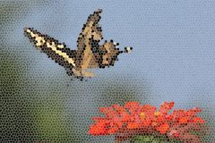 Nature's Mosaic. Mosaic is the art of creating images with small pieces of colored glass, stone or other material. The butterfly is a Giant Swallowtail, altered Royalty Free Stock Images