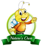 A nature's own label with a smiling bee Stock Images
