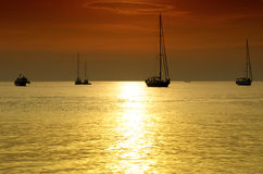 Sailboats at dusk. Tropical landscape Stock Images