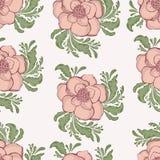 Nature sans couture de fleurs tirées par la main de rose en pastel Illustration Libre de Droits