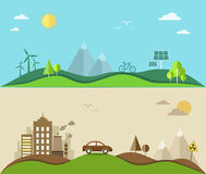 Nature saving and pollution flat illustration Royalty Free Stock Image